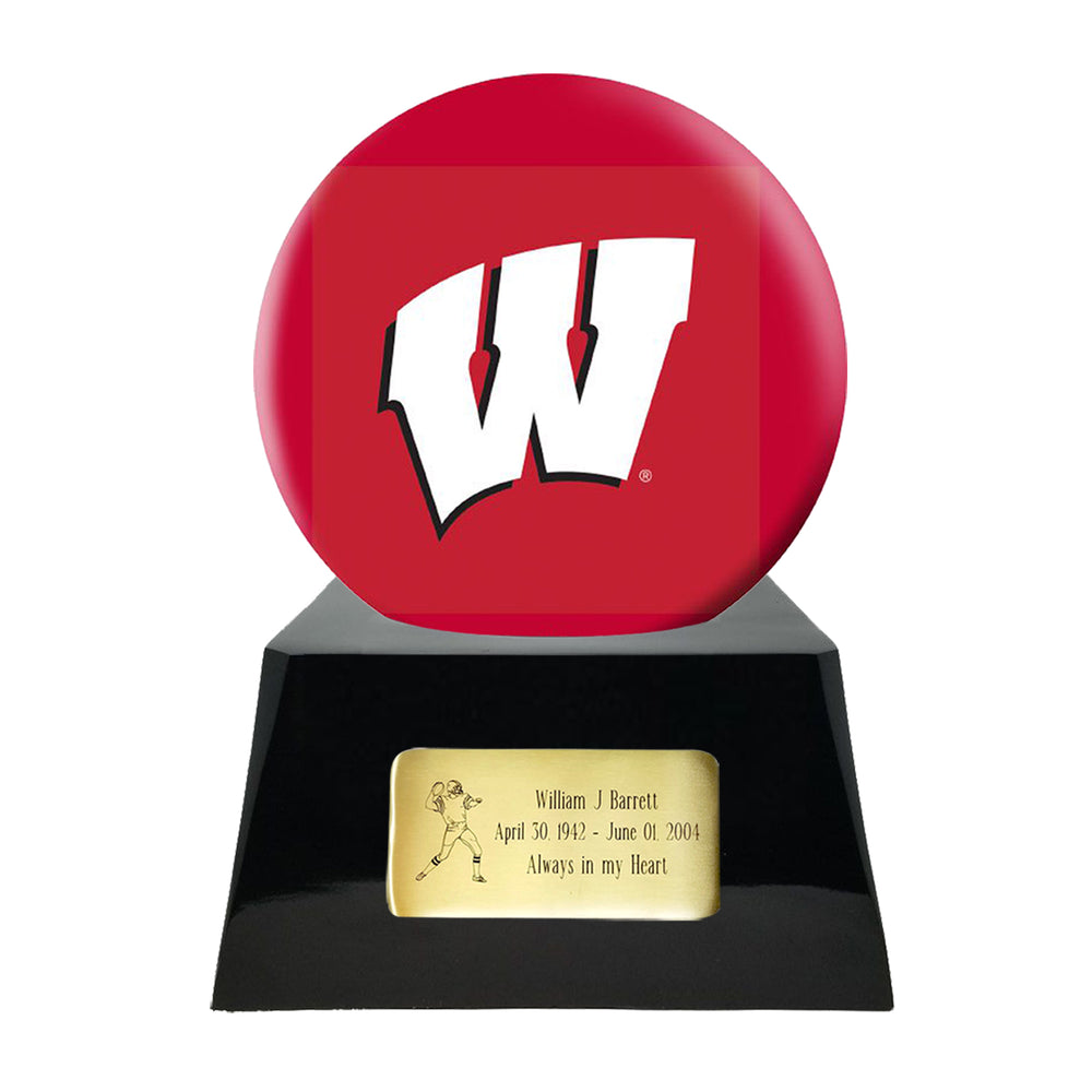 Football Cremation Urn and Wisconsin Badgers Ball Decor with Custom Metal Plaque