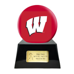 Image of Football Cremation Urn with Optional Wisconsin Badgers Ball Decor and Custom Metal Plaque