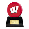 Image of Football Cremation Urn with Optional Wisconsin Badgers Ball Decor and Custom Metal Plaque, Football Team Urns - Divinity Urns.
