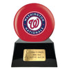 Image of Baseball Cremation Urn with Optional Washington Nationals Ball Decor and Custom Metal Plaque, Baseball - Divinity Urns