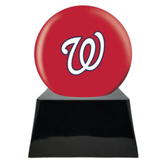 Baseball Cremation Urn with Optional Washington Nationals Ball Decor and Custom Metal Plaque