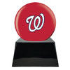 Image of Baseball Cremation Urn with Optional Washington Nationals Ball Decor and Custom Metal Plaque, Baseball - Divinity Urns.