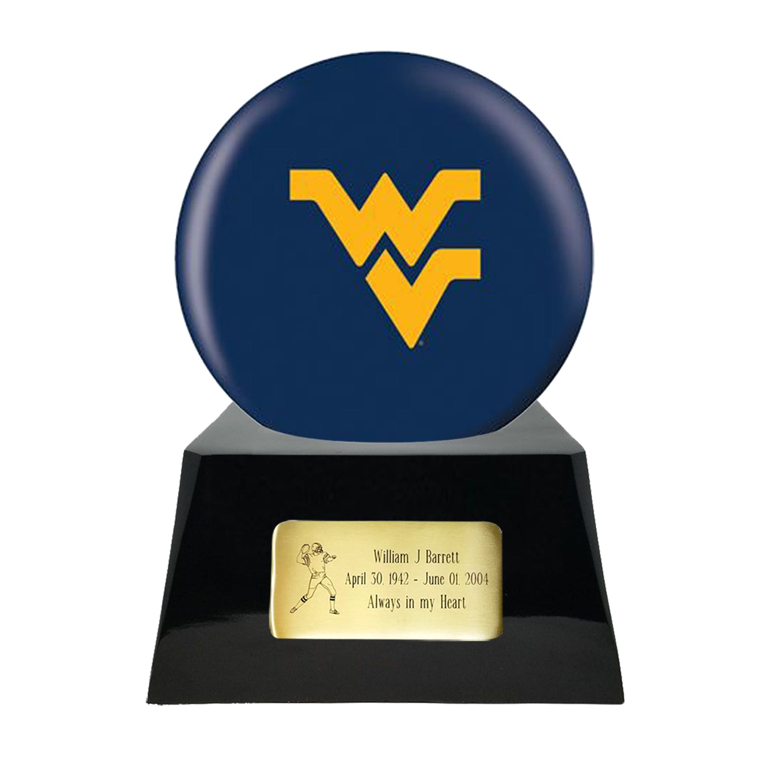 Football Cremation Urn with Optional West Virginia Mountaineers Ball Decor and Custom Metal Plaque, Football Team Urns - Divinity Urns