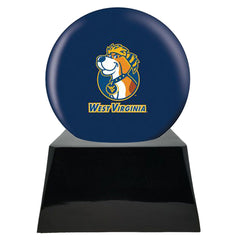 Football Cremation Urn with Optional West Virginia Mountaineers Ball Decor and Custom Metal Plaque