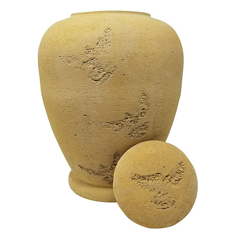 Beige Flying Dove Biodegradable Sand Urn, Adult Urn - Divinity Urns.