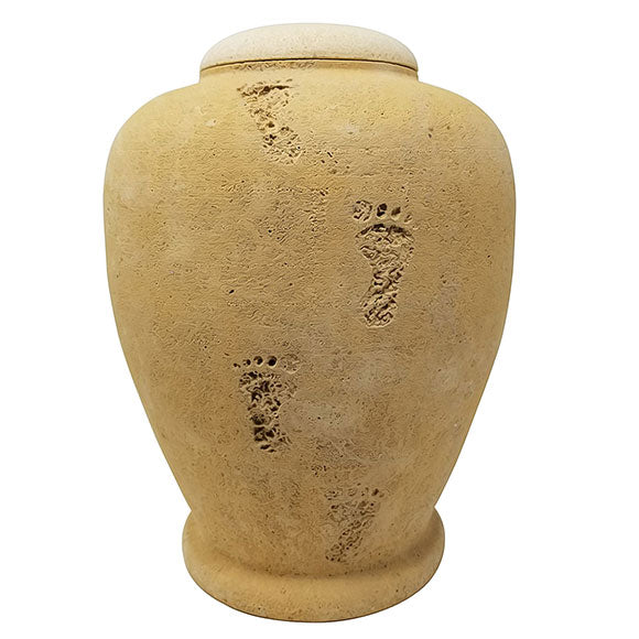 Beige Footprint Biodegradable Sand Urn, Adult Urn - Divinity Urns