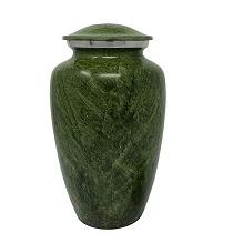 Classic Olive Green Alloy Cremation Urn
