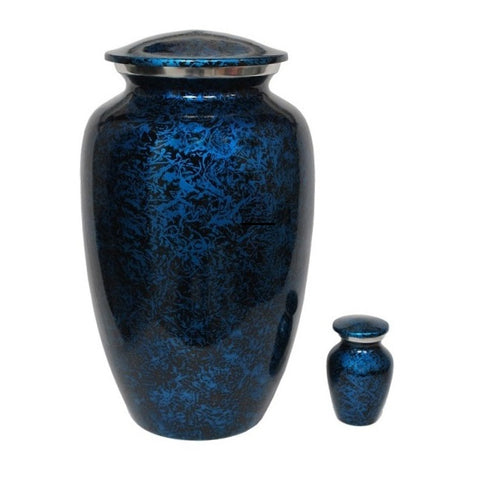 Classic Midnight Blue Alloy Cremation Urn, Adult Urn - Divinity Urns