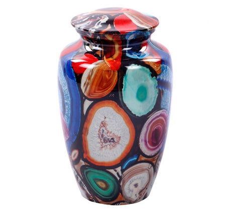 Exclusive Brazilian Multi Color Agate Finish Cremation Urn, Adult Urn - Divinity Urns.