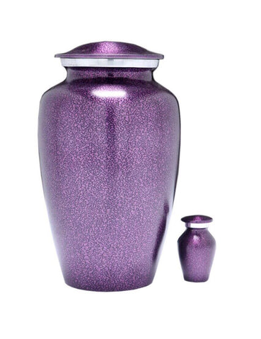 Classic Violet Purple Alloy Cremation Urn, Adult Urn - Divinity Urns.