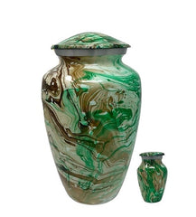 Majestic Swirl Metal Cremation Urn (comes with one free keepsake), Adult Urn - Divinity Urns