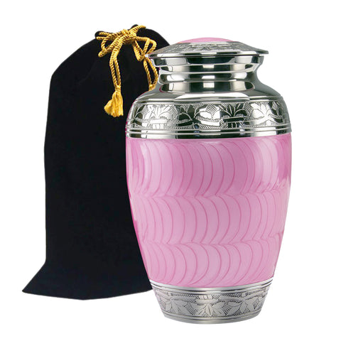 Classic Baby Pink Brass Cremation Urn, Alloy Urns - Divinity Urns.