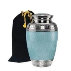 Classic Baby Blue Brass Cremation Urn, Alloy Urns - Divinity Urns.