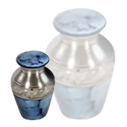 Classic Keepsake Urn in Blue - Blue Keepsake Urn - Brass & Metal Keepsake Cremation Urn For Ashes - Small Urn | Divinity Urns