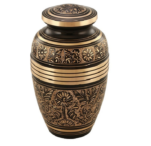 Elegant Aura Cremation Urn in Black/Gold- Adult Brass & Metal Urn for Ashes, Urn For Human Ashes - Divinity Urns.