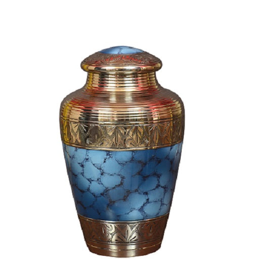 Classic Cloud Blue Brass Cremation Urn, Alloy Urns - Divinity Urns.