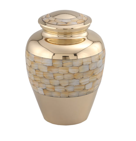 Elite Mother of Pearl Brass Cremation Urn