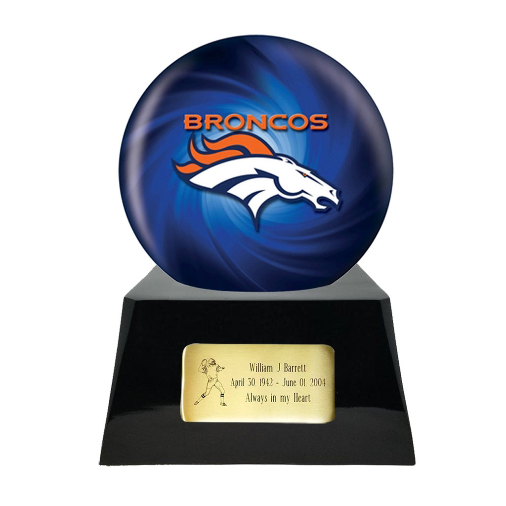 Football Cremation Urn with Optional Denver Broncos Ball Decor and Custom Metal Plaque, Sports Urn - Divinity Urns.