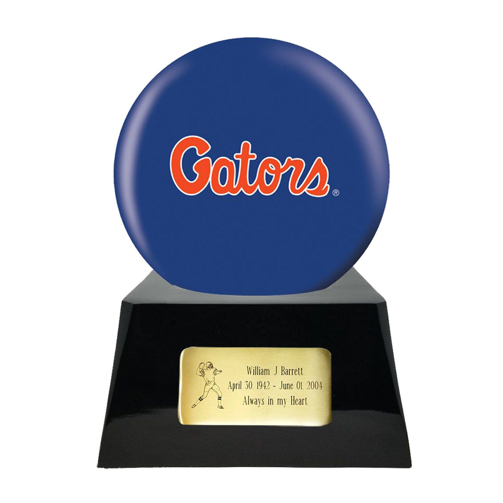 Football Cremation Urn with Optional Florida Gators Ball Decor and Custom Metal Plaque, Sports Urn - Divinity Urns