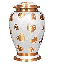 Pearl with Golden Hearts Cremation Urn