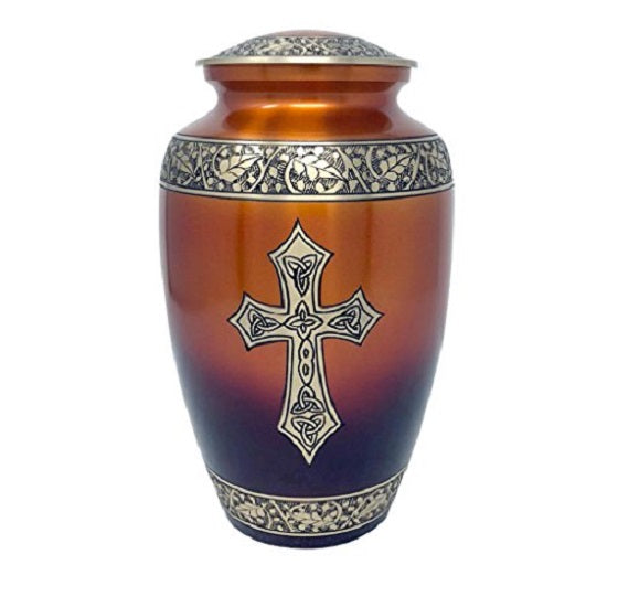 Blessings of Christ Sunset Gold Finish Cross Urn, Religious Urn - Divinity Urns.