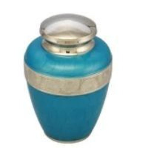 Classic Avalon Cremation Urn with Silver Sunflower Bands (Sky Blue), Adult Urn - Divinity Urns.