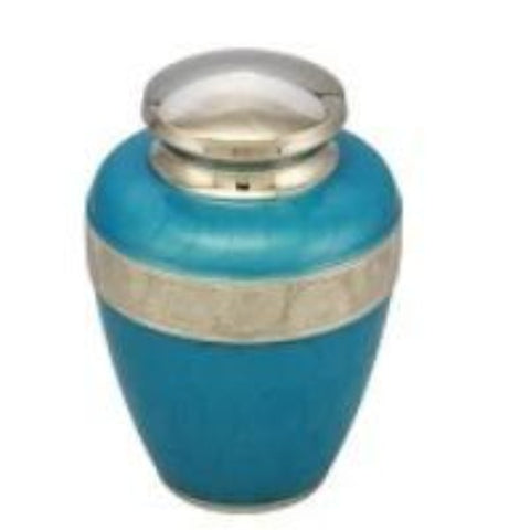 Classic Avalon Cremation Urn with Silver Sunflower Bands (Sky Blue)
