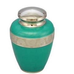 Classic Avalon Cremation Urn with Silver Sunflower Bands (Teal), Adult Urn - Divinity Urns