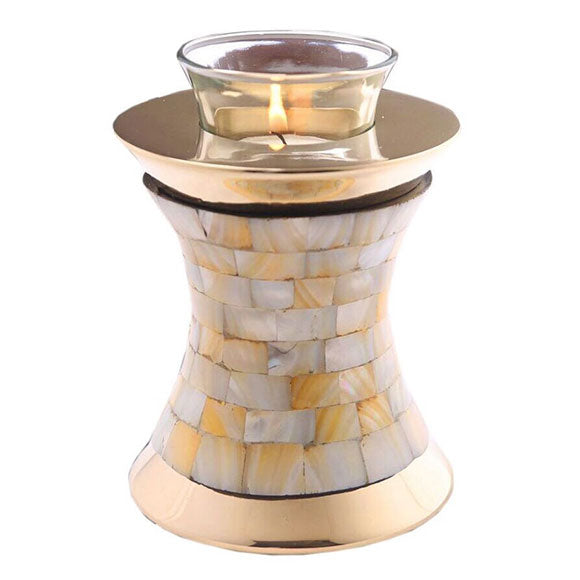 Mother of Pearl Tealight Cremation Urn, mother of pearl urn - Divinity Urns