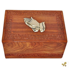 Praying Hand Inlaid Cremation Urn in Solid Rosewood Border Hand Carved Design, Urn For Human Ashes - Divinity Urns.