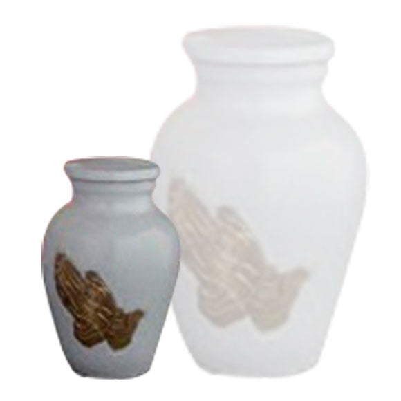 Praying Hands Keepsake Urn For Ashes in Gold & White Urn - Keepsake Urn - Metal Cremation Urn - Small Urns | Divinity Urns