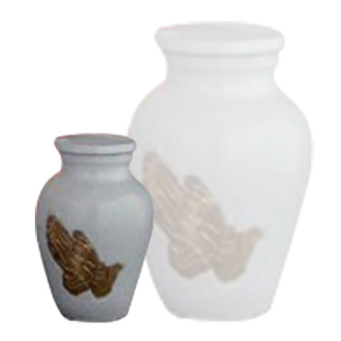 Praying Hands Urn For Ashes, Brass Urn - Divinity Urns.