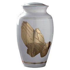 Praying Hands Urn For Ashes - Gold & White Urn - Metal Cremation Urn - Adult Urn | Divinity Urns