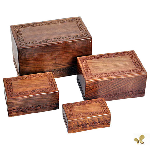 Solid Rosewood Cremation Urn - Border Carved Design, Adult Urn - Divinity Urns