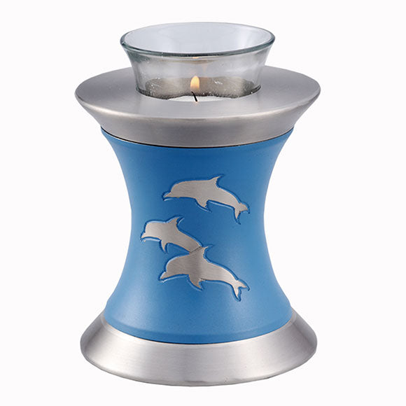 Solace Dolphins Tealight Urn in Blue, Tealight Urn - Divinity Urns