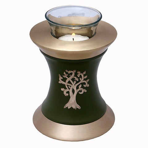 Solace Tree Tealight Urn in Green, Tealight Urn - Divinity Urns.
