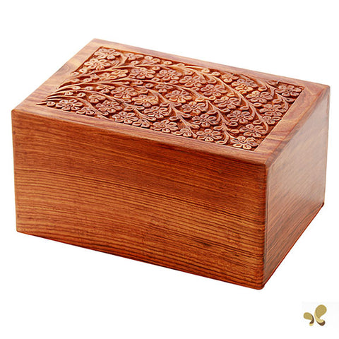 Solid Rosewood Cremation Urn - Soulful Tree Design, Adult Urn - Divinity Urns