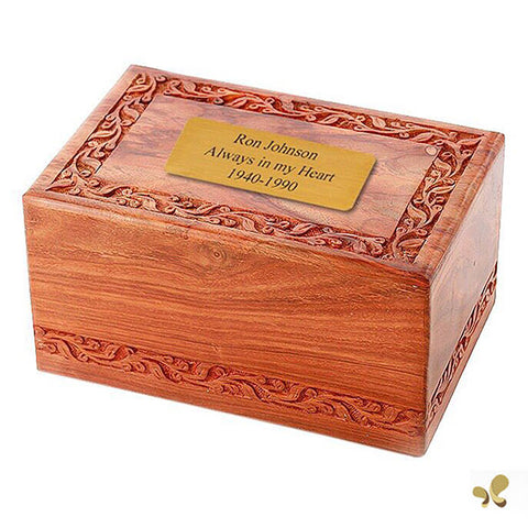 Solid Rosewood Cremation Urn - Border Carved Design, Adult Urn - Divinity Urns.