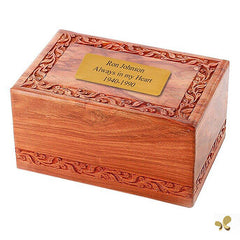 Solid Rosewood Cremation Urn - Border Carved Design