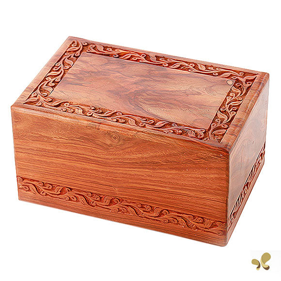 Small Solid Rosewood Handcarved Wood Urn