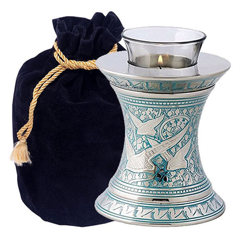 Wings to Eternity Blue Tealight Urn in Blue, Tealight Urn - Divinity Urns.