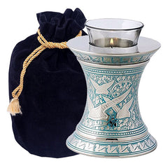 Wings to Eternity Blue Tealight Urn in Blue