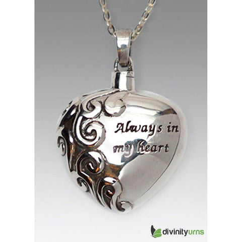 Always in My Heart Cremation Jewelry, Jewelry - Divinity Urns.