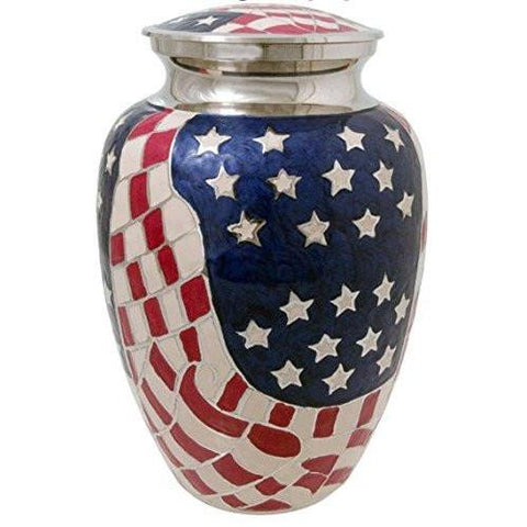 Elite American Flag Adult Cremation Urn, Military Urn - Divinity Urns.