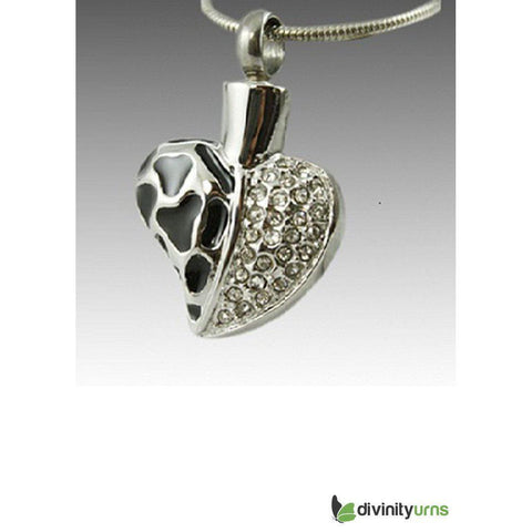 Anamel and Diamond Heart Cremation Pendant, [product_type] - Divinity Urns