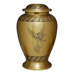 Angel Engraving Cremation Urn, Brass Urn - Divinity Urns