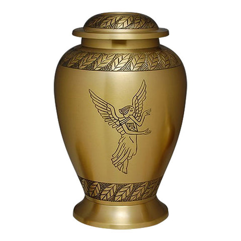 Angel Engraving Cremation Urn, Brass Urn - Divinity Urns.