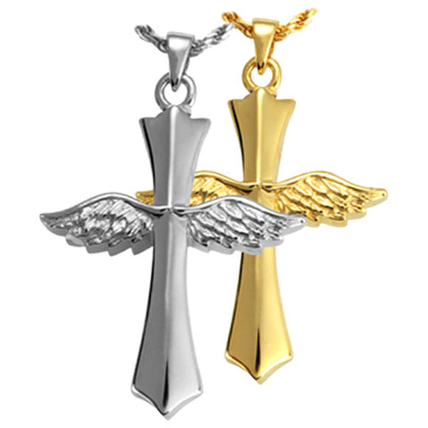 Winged Cross Gold Cremation Pendant Jewelry, Jewelry - Divinity Urns.