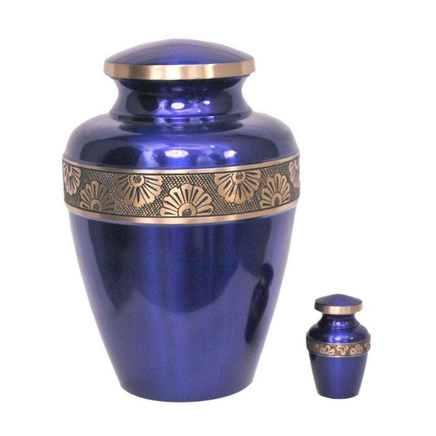 Avalon Blue with Sun Flower Band Cremation Urn-Urns For Human Ashes-Divinity Urns