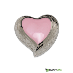 Baby Pink Heart Keepsake Infant Cremation Urn, Infant urn - Divinity Urns.